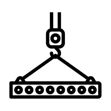 Icon Of Slab Hanged On Crane Hook. Editable Bold Outline Design. Vector Illustration. Ilustración de vector