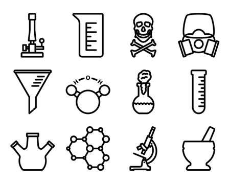 Chemistry Icon Set. Editable Bold Outline Design. Vector Illustration.