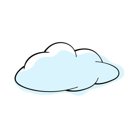 Doodle sketch cloud with color fill. Simple design suitable for making greeting cards. Vector illustration.