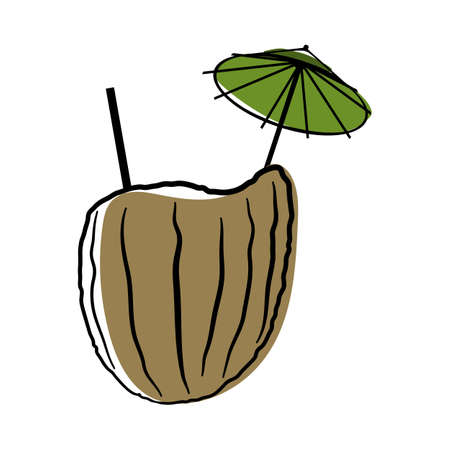 Doodle sketch coconut cocktail with color fill. Simple design suitable for making greeting cards. Vector illustration.