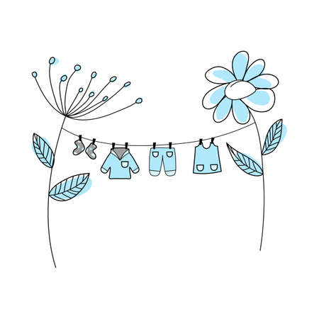 Doodle sketch baby clothe with color fill. Simple design suitable for making greeting cards. Vector illustration.