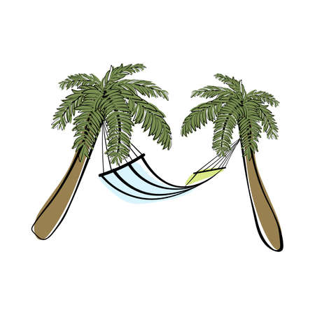 Doodle sketch palm trees with hammock and color fill. Simple design suitable for making greeting cards. Vector illustration. Illusztráció