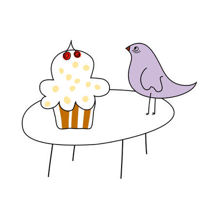 Doodle sketch cake with color fill. Simple design suitable for making greeting cards. Vector illustration. Illusztráció