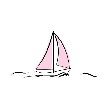 Doodle sketch yacht with color fill. Simple design suitable for making greeting cards. Vector illustration. Illusztráció