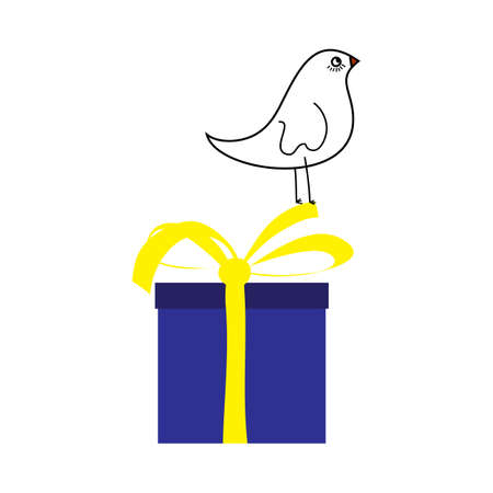 Doodle sketch bird on gift box with color fill. Simple design suitable for making greeting cards. Vector illustration. Illusztráció