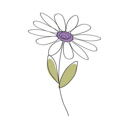 Doodle sketch flower with color fill. Simple design suitable for making greeting cards. Vector illustration. Illusztráció