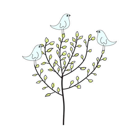 Doodle sketch tree with color fill. Simple design suitable for making greeting cards. Vector illustration.