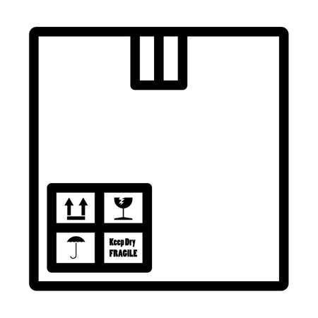 Cardboard Package Box Icon. Bold outline design with editable stroke width. Vector Illustration.