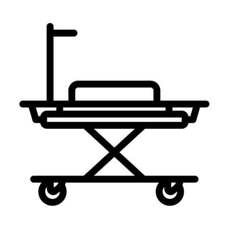 Medical Stretcher Icon. Bold outline design with editable stroke width. Vector Illustration.