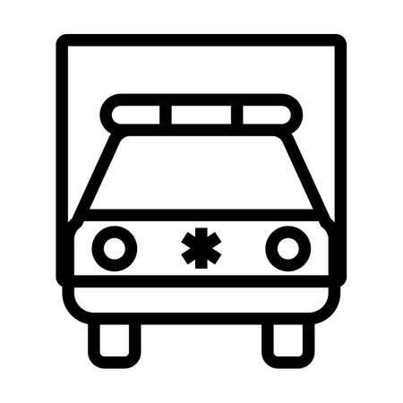 Ambulance Car Icon. Bold outline design with editable stroke width. Vector Illustration.