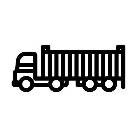 Container Truck Icon. Bold outline design with editable stroke width. Vector Illustration.