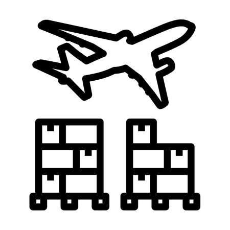 Boxes On Pallet Under Airplane. Bold outline design with editable stroke width. Vector Illustration. Illusztráció