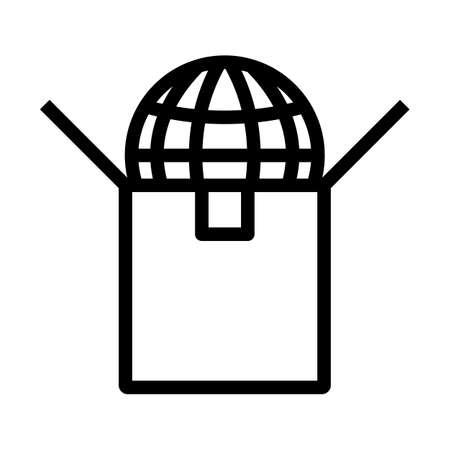 Planet In Box. Bold outline design with editable stroke width. Vector Illustration. Illusztráció