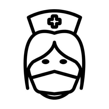 Nurse Head Icon. Bold outline design with editable stroke width. Vector Illustration.