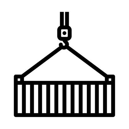 Crane Hook Lifting Container. Bold outline design with editable stroke width. Vector Illustration. Illusztráció