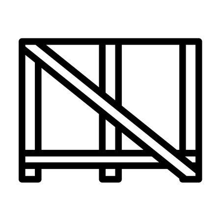 Wood Lathing For Fragile Goods. Bold outline design with editable stroke width. Vector Illustration.