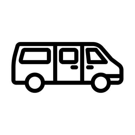 Commercial Van Icon. Bold outline design with editable stroke width. Vector Illustration.