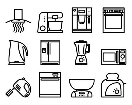 Kitchen Icon Set. Bold outline design with editable stroke width. Vector Illustration.