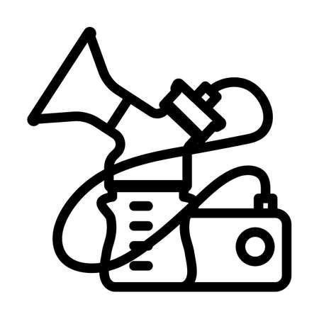 Electric Breast Pump Icon. Bold outline design with editable stroke width. Vector Illustration. Ilustración de vector