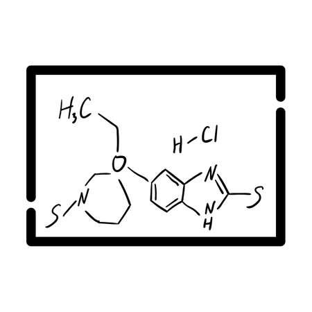 Icon Of Chemistry Formula On Classroom Blackboard. Bold outline design with editable stroke width. Vector Illustration. Ilustración de vector