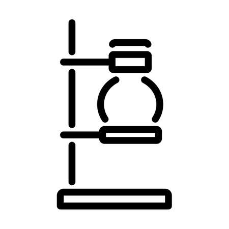 Icon Of Chemistry Flask Griped In Stand. Bold outline design with editable stroke width. Vector Illustration.