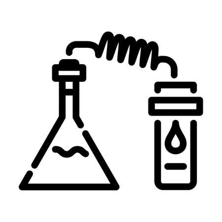 Icon Of Chemistry Reaction With Two Flask. Bold outline design with editable stroke width. Vector Illustration.