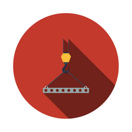 Icon Of Slab Hanged On Crane Hook By Rope Slings. Flat Circle Stencil Design With Long Shadow. Vector Illustration.