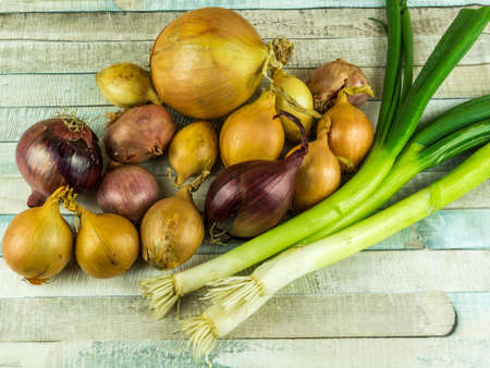 Various types of onions on a rustic wooden table