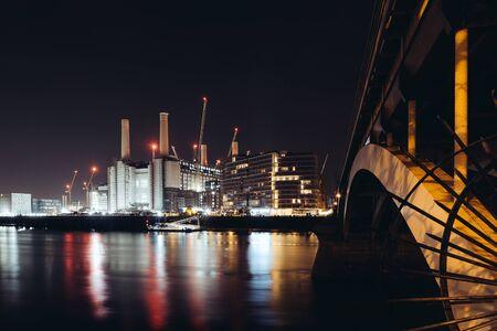 Under construction Battersea Power Station at night long exposure, London, UK, 2020