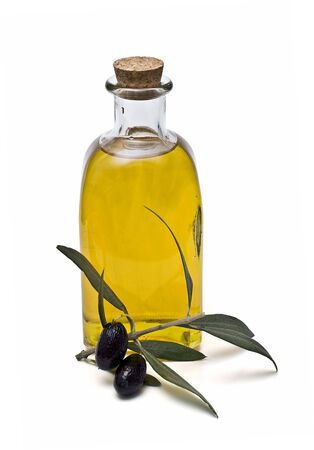 A bottle of olive oil and black olives. Stock Photo - 6204302