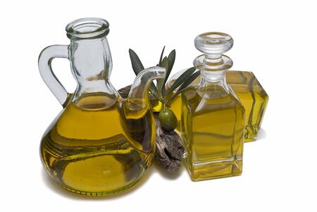 Some bottles of olive oil. photo