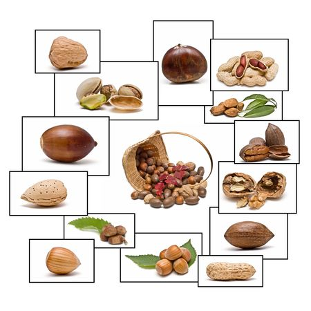 Nuts with frames. photo