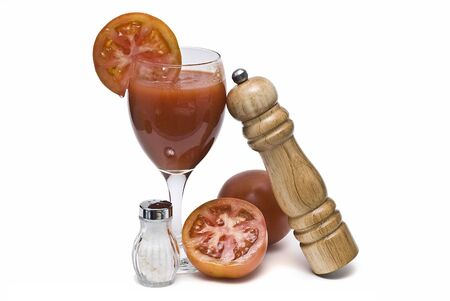 Tomato, salt and pepper. photo