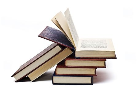 skim: Open book on other books. Stock Photo
