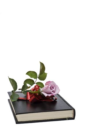 A pink rose on a book with a gift ribbon. photo