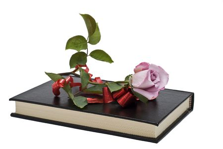 A rose on a book with a gift ribbon. photo