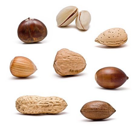 Isolated nuts on a white background. photo