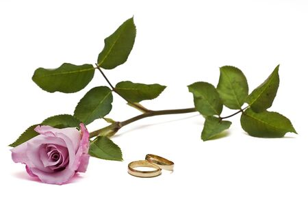 alliances: Rings and roses for love. Stock Photo