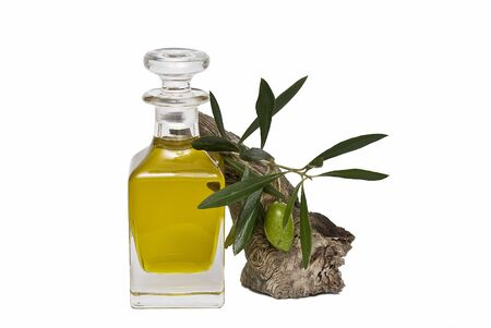 oil mill: A bottle of oil and one olive.