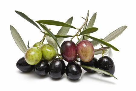 good cholesterol: Green and black olives. Stock Photo