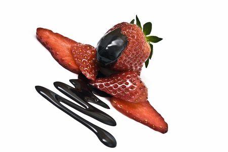 Strawberries with chocolate. photo