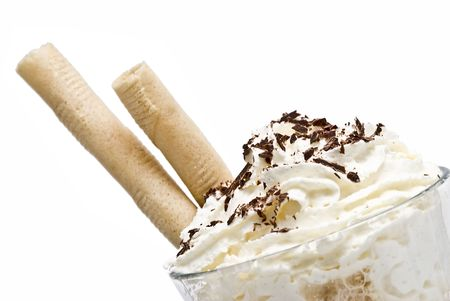 whipped cream: Coffee with whipped cream and wafers.