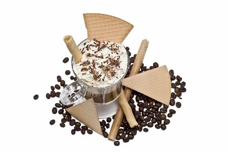 Coffee with whipped cream and wafers. Stock Photo - 6699568