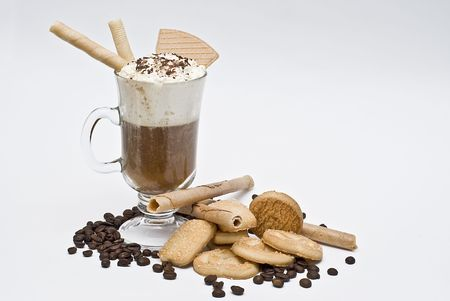 Coffee with whipped cream and wafers. photo