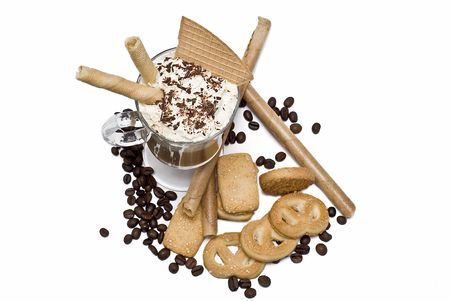 Coffee with whipped cream and wafers. Stock Photo - 6699636