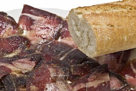 jamones: Un plato de rodajas de mermelada con pan. Foto de archivo