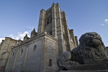 A view of the cathedral of Avila in Spain. photo