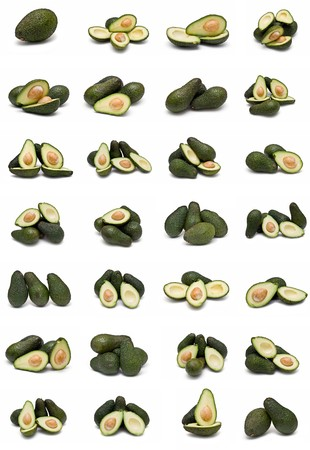 Avocados collection isolated on a white background. photo