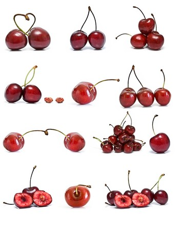 Cherries collection isolated on white background. Stock Photo - 7447056