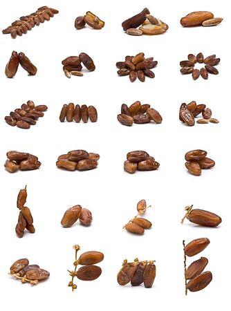 frutas secas: Colecci�n de fechas aislada sobre fondo blanco.  Foto de archivo